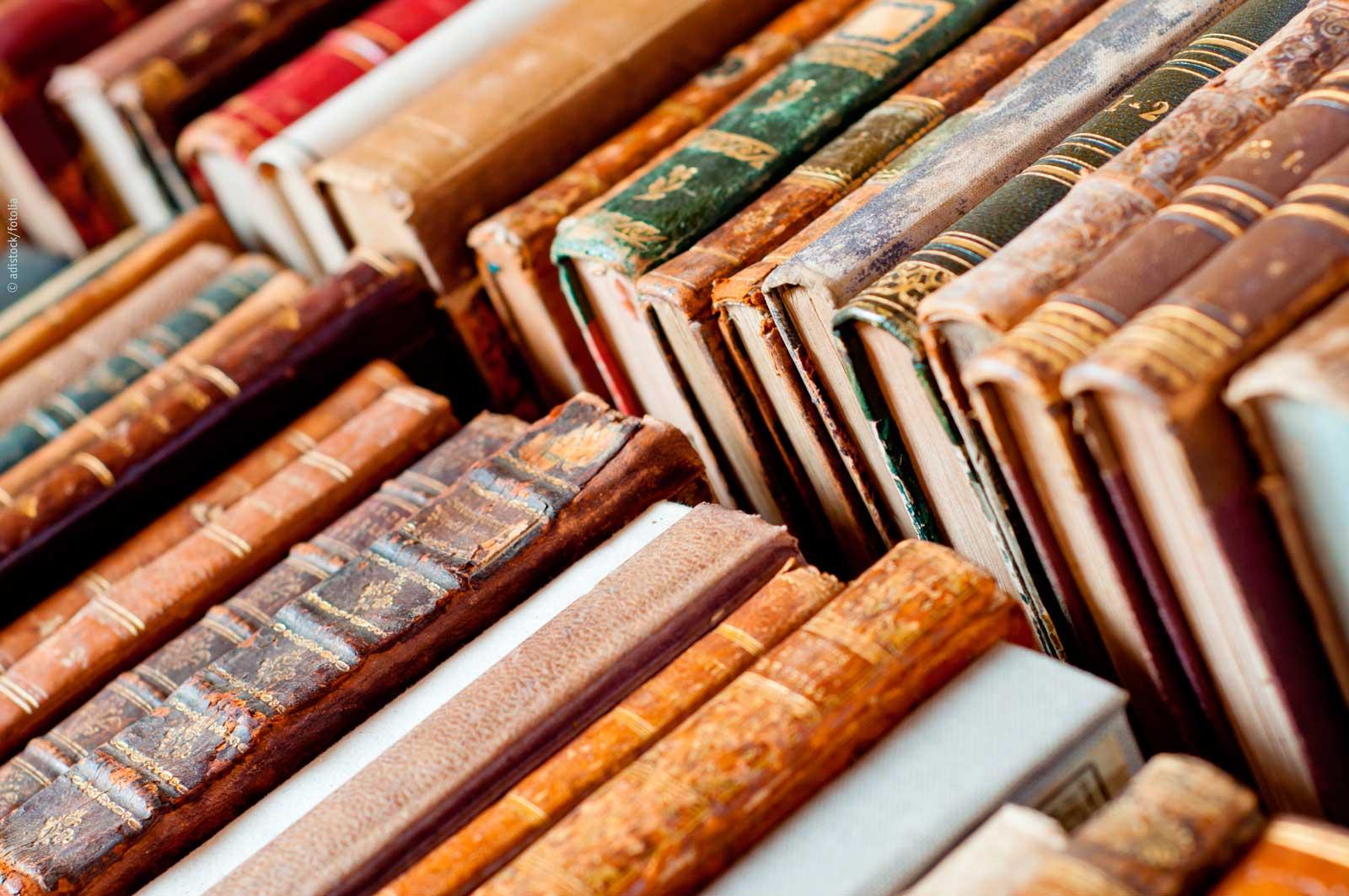 Alte Bücher, schön aufgereiht